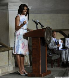 When I grow up I want to have Michelle Obama's style…here in a Tanya Taylor print dress. Just fabulous!