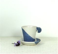 Cute Ceramic Cup & Saucer in Blue & White - Stoneware Pottery £16.00