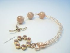 Bracelet  Viking Knit in Rose Gold with by CrookedCrystal on Etsy, $25.99
