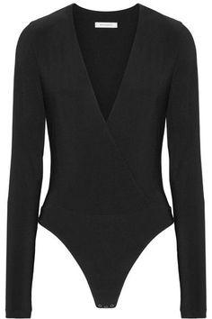 GABRIELLE'S AMAZING FANTASY CLOSET | Protagonist's Black Wrap-Effect Stretch-Ponte Bodysuit
