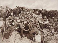 A halt in the desert with the Australian Light Horse Brigade
