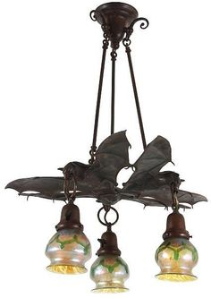 3 Light Austrian Bronze Hanging Bat Lamp Lot 368