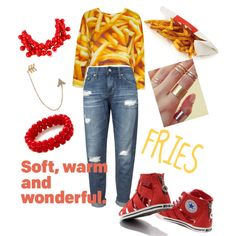 FRIES by q-griffin on Polyvore featuring polyvore fashion style AG Adriano Goldschmied Converse Bee Goddess Kenneth Jay Lane
