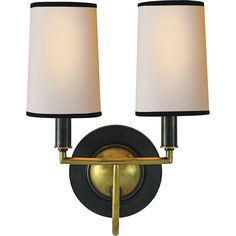 Thomas O'Brien ELKINS DOUBLE LIGHT SCONCE by Visual Comfort & Co. TOB2068BZ/HAB-NP/BT