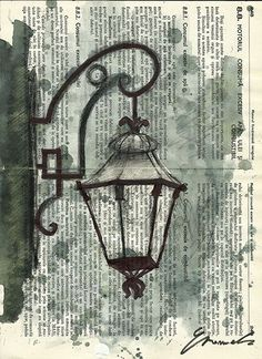 Imprimir dibujo de la tinta de arte acuarela dibujo por rcolo