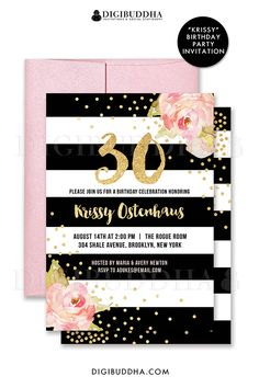 Black and white striped 30th birthday invitations with boho chic pink watercolor peonies and gold glitter confetti dots. Choose from ready made printed invitations with envelopes or printable birthday invitations. Rose shimmer envelopes also available. digibuddha.com