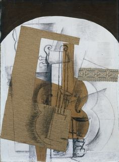 The Violin. Georges Braque (French, 1882-1963). Date: early 1914. Medium: Cut and pasted papers (newsprint, block-printed or stenciled decorative paper, and faux bois), with charcoal and graphite. Dimensions: Unframed - h:71.80 w:51.80 cm (h:28 1/4 w:20 3/8 inches). Department: Drawings.    Type of art work: Drawing