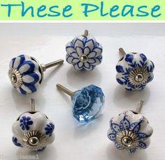 These Please Blue & White Ceramic Glass Door Knobs Handles Drawer Kitchen Flower | eBay