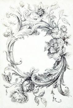 Acanthus and floral border Vintage Prints, Vintage Art, Vintage Floral, French Vintage, Adult Coloring Pages, Coloring Books, Etiquette Vintage, Images Vintage, Vintage Labels