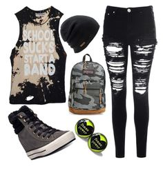 """""""ootd 27/08/15"""" by crazymofoxd1 ❤ liked on Polyvore featuring Converse, Glamorous, Coal and JanSport"""