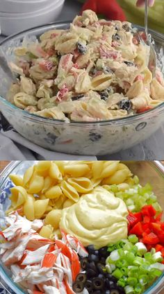 This Crab Pasta Salad is a family recipe, one of my favorites! Packed with vegg… This Crab Pasta Salad is a family recipe, one of my favorites! Packed with veggies and delicious flavor, it's a staple at summer BBQs! Seafood Dishes, Pasta Dishes, Seafood Recipes, Dinner Recipes, Cooking Recipes, Crab Pasta Recipes, Luncheon Recipes, Baked Shrimp Recipes, Recipe Pasta