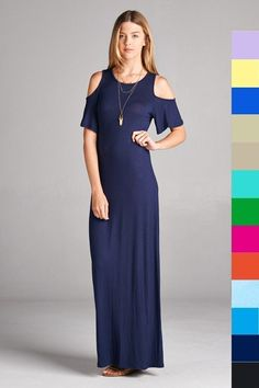 Navy Cold Shoulder Maxi Dress