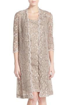 Womens Alex Evenings Sequin Lace Sheath Dress with Jacket Size 8 - Beige $119.40 AT vintagedancer.com