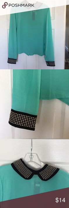 NWT! Gorgeous Turquoise Rockabilly Top So pretty! Love the studded collar & sleeves, so unique! Button up, semi sheer, 100% poly. Ships within a day! Non smoking pet friendly environment. www.shopcbella.com Tops