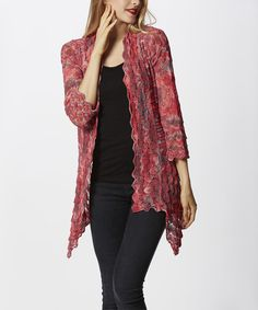 Simply Couture Red Scallop Open Cardigan   zulily
