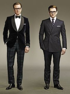 Men with British accent & suits are such a turn on. [Colin Firth & Taron Egerton on Kingsman: The Secret Service movie] Sharp Dressed Man, Well Dressed, Kingsman Suits, Film Kingsman, Taron Egerton Kingsman, Eggsy Kingsman, Colin Firth Kingsman, Kingsman The Secret Service, Terno Slim