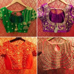 Bridal blouses for the happy clients detailing intricate indianwedding weddingblouse blousedesign weddingwear handembroidery classy 30 October 2016 Saree Blouse Patterns, Designer Blouse Patterns, Saree Blouse Designs, Blouse Styles, Sari Blouse, Indian Attire, Indian Outfits, Indian Dresses, Cut Work Blouse