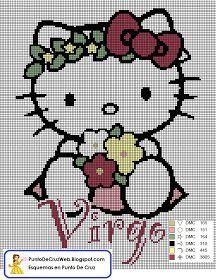 Patrón en Punto de cruz el Horóscopo de Virgo de Hello Kitty.       Nacidos entre: 24 de Agosto al 22 de Septiembre      Simboliza: La bús...