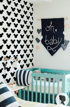Mickey Mouse Pattern Self Adhesive Removable Wallpaper by Livettes