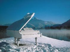 Piano in winter Mondsee, Austria