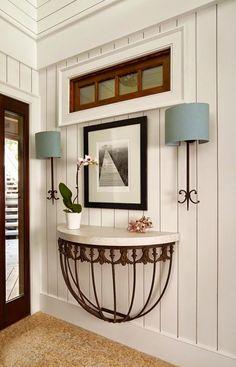 Vertical shiplap paneling.  Encase horizonal window in guest room this way