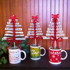 My money trees made for grandchildren. Used Christmas mugs, and 12 inch dowels to copy idea pinned on Christmas board. I think mine turned out even cuter! Going to write names on handles with Sharpies.