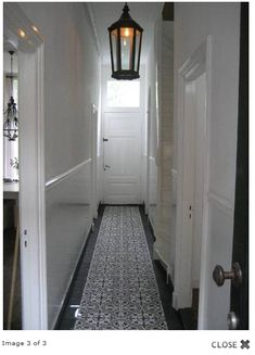 1. Great floor in a very narrow hallway. The light fitting adds a nice final touch to this simple aesthetic.