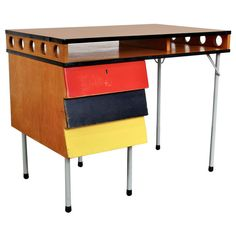 Rare Wim Rietveld Desk, circa 1950   From a unique collection of antique and modern desks and writing tables at https://www.1stdibs.com/furniture/tables/desks-writing-tables/