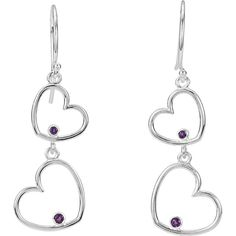 85548 / Sterling Silver / Earring / Set / 38.50X12.50 Mm / Pair / Round / 01.50 And 01.75 Mm / Amethyst / Polished / Double Heart Earrings