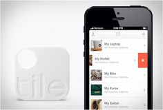 """TILE APP - If you have an annoying habit of losing things, """"Tile app"""" may be the solution to your problems. Tile app is a new tracking device, simply attach it to any object and find it from afar with a smartphone. Locate anything with Tile, laptops, wallets, keys, guitars, bikes, you name it."""