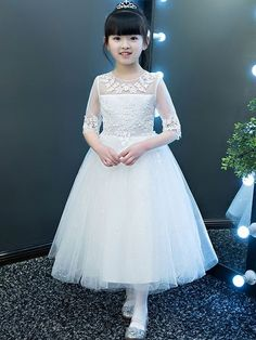 Fashionable a line mandarin collar high low asymmetrical hem tulle flower girl dresses with beaded appliques – Artofit African Dresses For Kids, Gowns For Girls, Frocks For Girls, Dresses Kids Girl, Kids Party Wear Dresses, Ball Dresses, The Dress, Baby Dress, White Frock