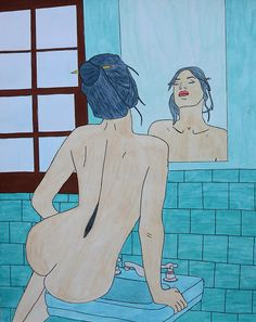 Drawing of a sexy woman in front of a mirror. Drawn on 29x36.5 thick aquarelle paper using watercolors and ink pen.  Simple, yet beautiful.