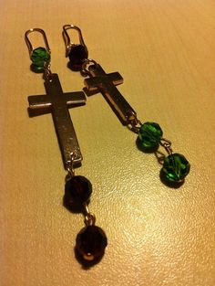 Cross earrings and swarowski by dodimatto on Etsy
