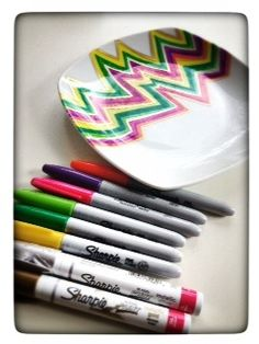 Easy DIY for Kid's Party: Sharpie Markers and ceramic plates. Design your own. Bake in 365 degree oven for 30 minutes and you have your own personalized plate to take home as give out!