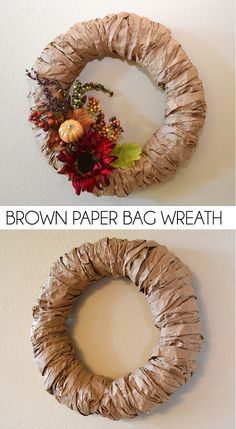 Brown Paper Bag Wreath Tutorial Recycle brown paper and make a fabulous brown paper bag wreath to decorate as you please. It's the perfect Autumn wreath! The post Brown Paper Bag Wreath Tutorial appeared first on Paper Diy. Autumn Wreaths, Christmas Wreaths, Christmas Crafts, Paper Bag Crafts, Small Apartment Decorating, Wreath Tutorial, Brown Bags, Brown Paper Bags, Fall Diy