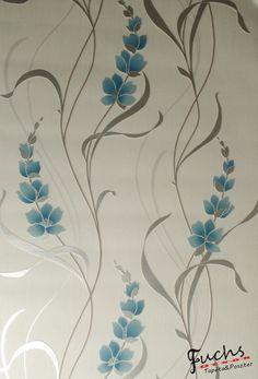 Kék virág mintás tapéta