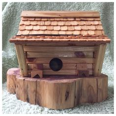 A personal favorite from my Etsy shop https://www.etsy.com/listing/257099134/primitive-pine-log-cabin-birdhouse-on