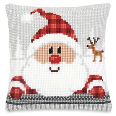 Santa and Friend Pillow Top - Cross Stitch, Needlepoint, Embroidery Kits – Tools and Supplies