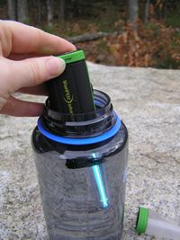 Water Purifiers | Adventurer Opti SteriPEN     Adventurer Opti Specs   Weight: 103g/3.6 oz. with batteries. Size: 15.5cm. (6.1in.) x 3.3cm. (1.5in.) x 2.2cm. (1.0in.) Battery: Uses two CR123 batteries (included) Battery life: Disposable -- 100 treatments (16oz./0.5L); Rechargeable -- 40-50 treatments (16oz./0.5L) UV Lamp Life: 8,000 treatments   Read more: http://www.steripen.com/adventurer-opti#ixzz20juI7iV5