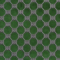 Schumacher Woven in Belgium on traditional looms, this extraordinary velvet has a dense loop and pile construction. Its mid-sized Greek key lattice pattern is graphic and elegant. Wallpaper Samples, Fabric Wallpaper, Luxury Flooring, Geometric Fabric, Velvet Color, Greek Key, Fabulous Fabrics, Schumacher, Green Fabric