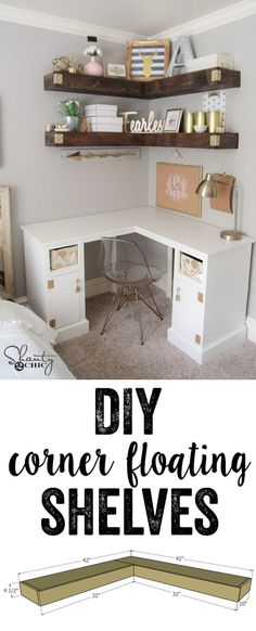 Super easy tutorial to build DIY Floating Corner Shelves... Each shelf uses only $40 in lumber. The braces are created using 2x4 and wrapped in inexpensive but beautiful pine boards. You can find the free plans and full instructions and tutorial at www.shanty-2-chic.com! Floating Corner Shelves, Floating Wall, Corner Shelves Living Room, Diy Corner Shelf, Corner Space, Kids Corner Desk, Wood Corner Shelves, Corner Bookshelves, Study Corner