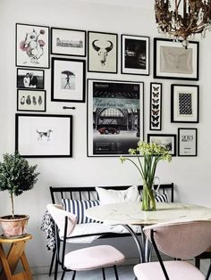 I planned the decor for three years while I was looking for my apartment Dining Room Inspiration – monochrome art wall with a vintage feel, mixed dining room chairs and round marble table topped with a vintage look chandelier. Mixed Dining Chairs, Dining Room Walls, Dining Room Design, Inspiration Wand, Dining Room Inspiration, Home Decor Inspiration, Room Wall Decor, Living Room Decor, Round Marble Table