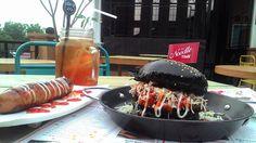 Black bun burger at What's Up Cafe