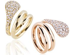 Rings in 18k pink and yellow gold with 1.15 cts. t.w. diamonds, $4,600 each; Zydo