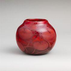 Louis Comfort Tiffany glass vase with cherries