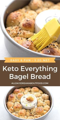 Tender fathead dough rolled into balls and sprinkled with everything bagel seasoning, for a delicious and fun keto pull apart bread. It's a wonderful grain-free side dish or appetizer! Ketogenic Recipes, Low Carb Recipes, Diet Recipes, Healthy Recipes, Ketogenic Diet, Diet Meals, Leptin Diet, Cooking Recipes, Cheese Recipes