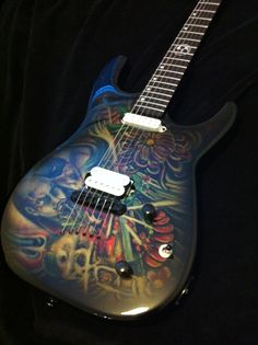 Hand painted guitar Painted Guitars, Guitar Painting, Bass, Music Instruments, Hand Painted, Guitars, Musical Instruments, Lowes, Double Bass
