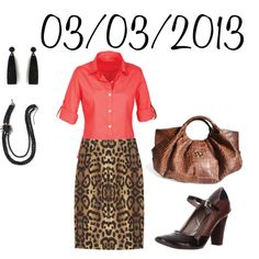 """Coral and Leopard: Sunday, March 3, 2013"" by josiegirl77 on Polyvore"