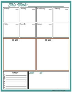 A free weekly planner printable. Helps to keep my schedule, to dos, menu and notes all on one page!