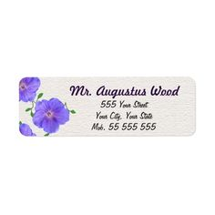 Garden Blue Flower Purple Name on White Structure Return Address Labels